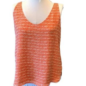 LOFT Sleeveless Top - Pumpkin Orange Print Medium